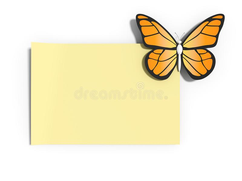 Note with a butterfly royalty free illustration