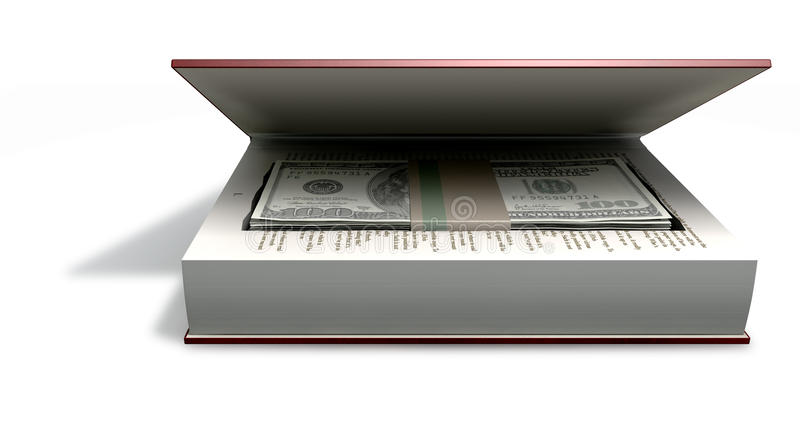 Note celate del dollaro americano in una parte anteriore del libro illustrazione vettoriale
