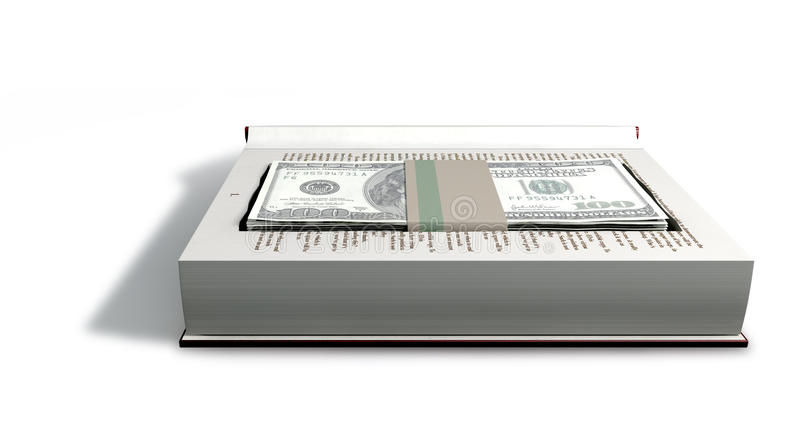 Note celate del dollaro americano in una parte anteriore del libro illustrazione di stock