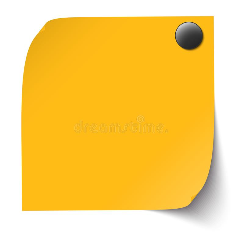 Note collante avec l'aiguille de goupille illustration libre de droits