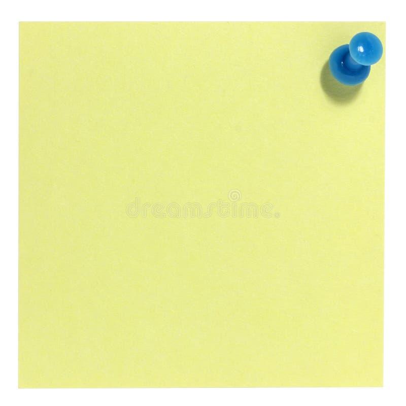 Note collante carrée avec la goupille bleue photo libre de droits