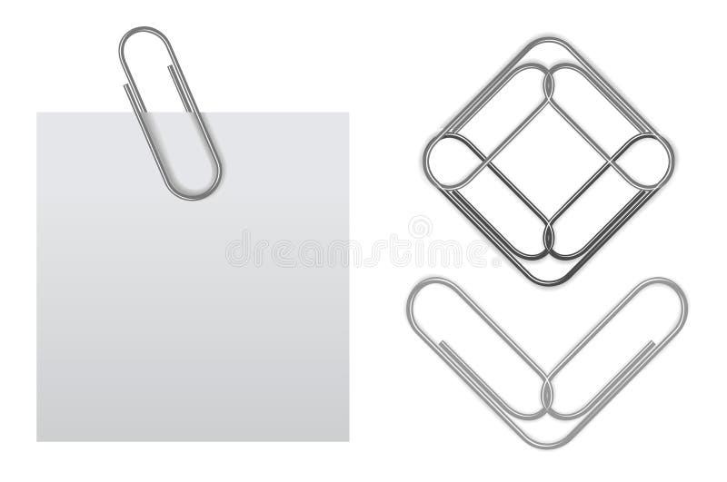 Note collante de vecteur avec le trombone illustration libre de droits