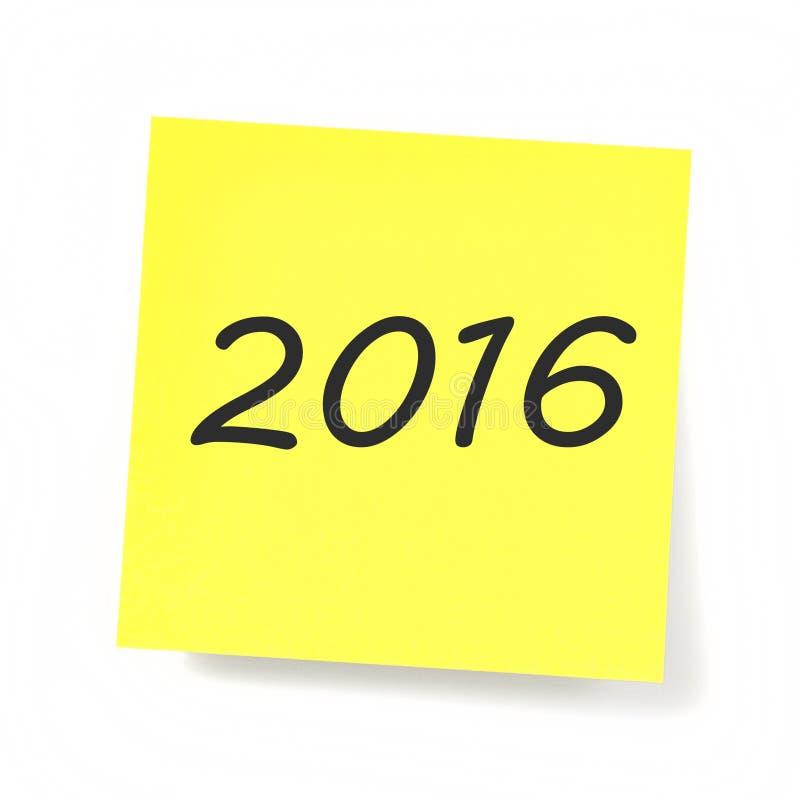 Note collante jaune - année 2016 images libres de droits
