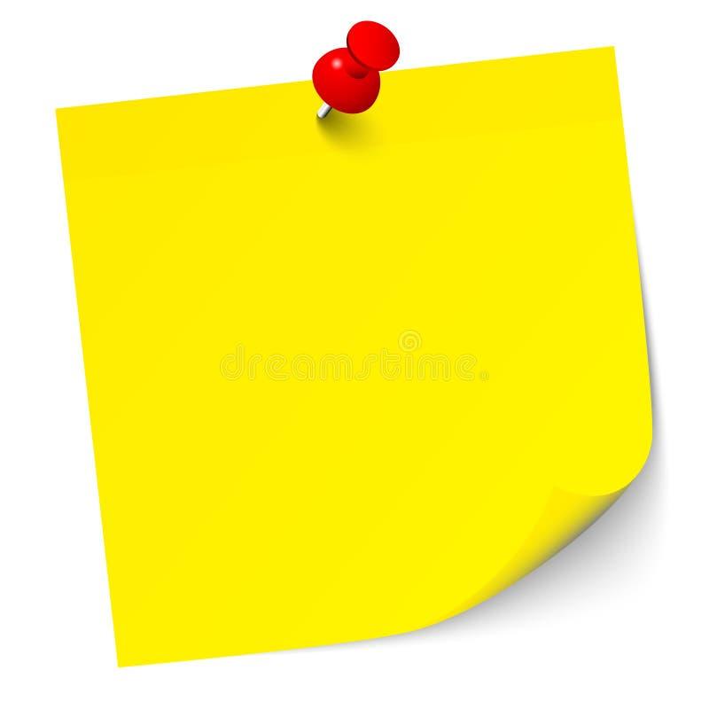 Note collante jaune simple avec le Pin rouge illustration stock
