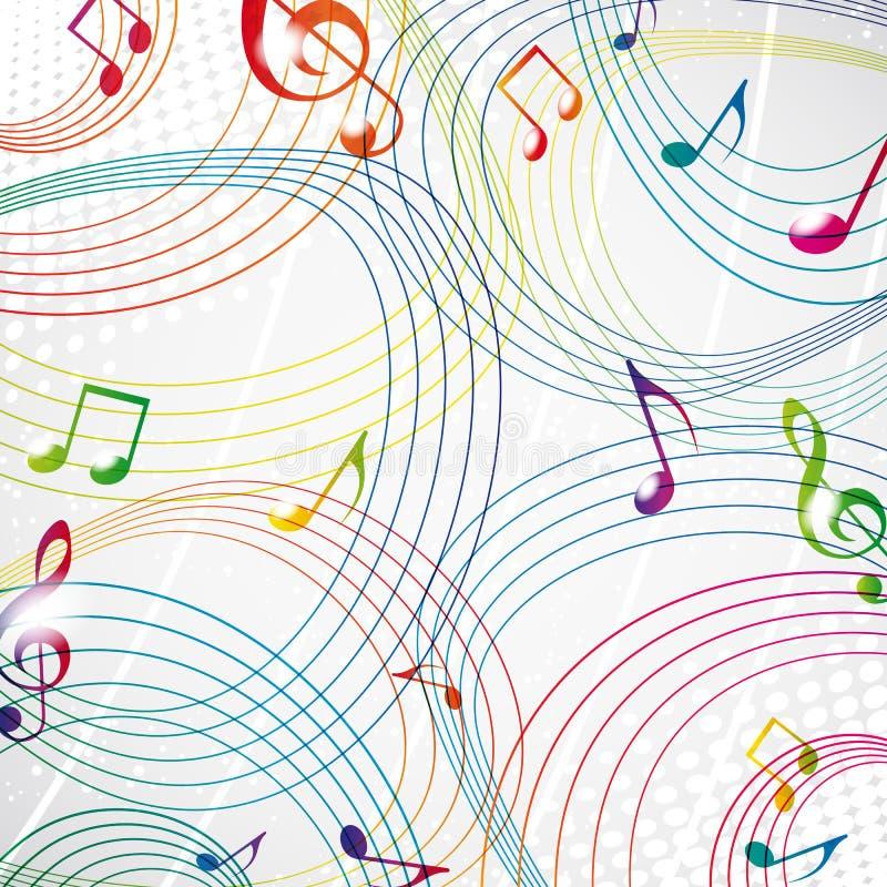 Note colorée de musique sur un fond gris. illustration de vecteur