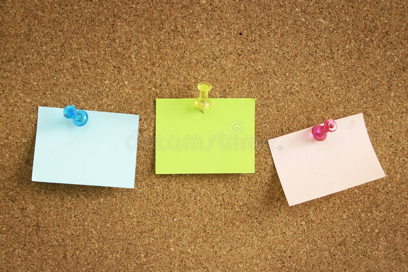 Note on cork board stock image