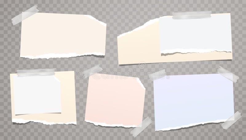 Note déchirée et déchirée colorée et blanche légère, bandes de papier de carnet, coincées avec la bande collante sur le fond carr illustration libre de droits