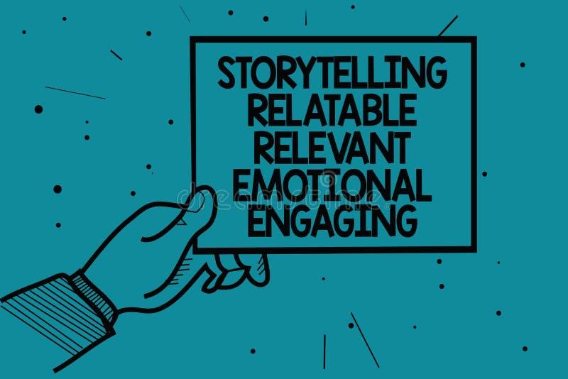 Note d'écriture montrant à fabulation s'engager émotif approprié racontable Les contes de présentation de souvenirs de part de ph illustration stock
