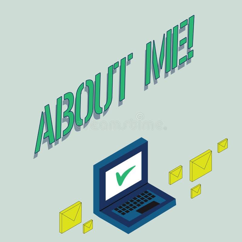 Note d'écriture montrant au sujet de moi La photo d'affaires présentant mon information personnelle de caractéristiques aime et d illustration de vecteur