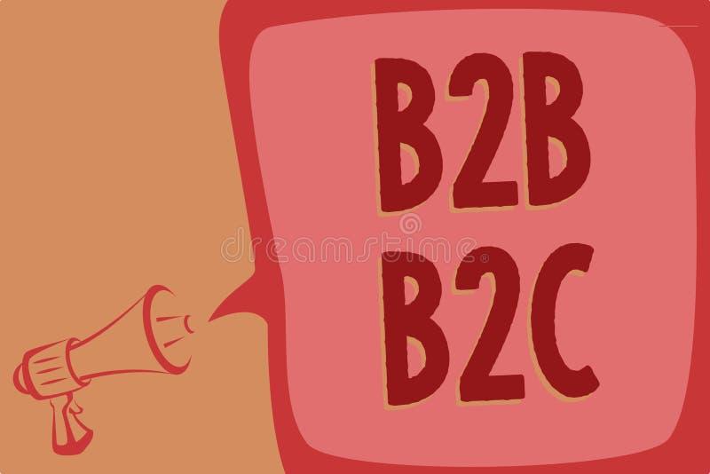 Note d'écriture montrant B2B B2C Photo d'affaires présentant deux types pour envoyer des emails à l'autre lo de mégaphone de comp photos libres de droits