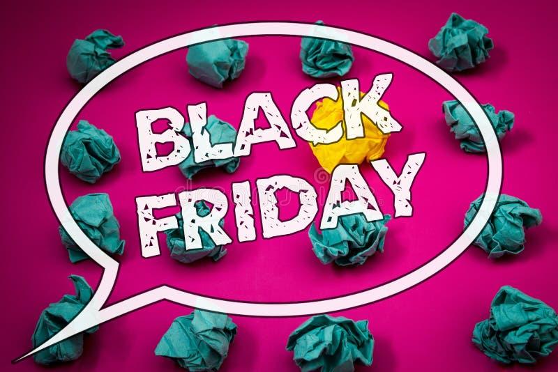 Note d'écriture montrant Black Friday Les photos d'affaires présentant des ventes spéciales après des achats de thanksgiving esco image stock