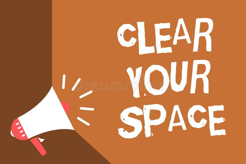 Note d'écriture montrant clairement votre espace La photo d'affaires présentant le secteur propre de studio de bureau le rendent  illustration stock