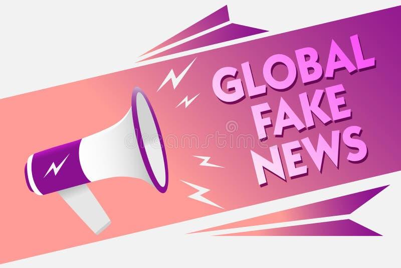 Note d'écriture montrant de fausses actualités globales La photo d'affaires présentant le bruit faux de canular de désinformation illustration stock