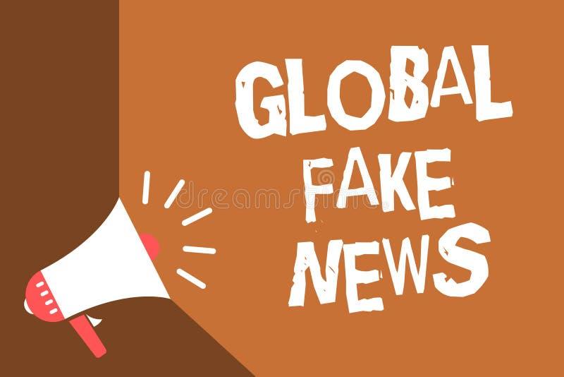 Note d'écriture montrant de fausses actualités globales Photo d'affaires présentant le canular faux de désinformation de mensonge illustration stock