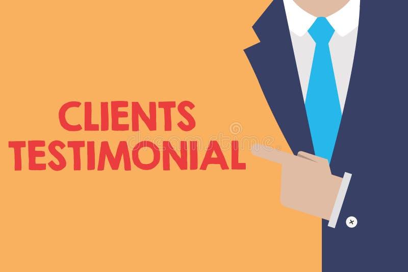 Note d'écriture montrant des clients testimoniaux Photo d'affaires présentant la déclaration formelle témoignant l'approbation fr illustration stock