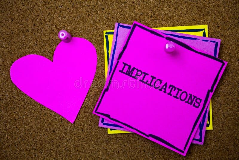 Note d'écriture montrant des implications État de présentation de conclusion de photo d'affaires d'être papier impliqué de signe  photos libres de droits