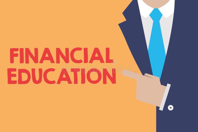 Note d'écriture montrant l'éducation financière Secteurs monétaires de compréhension de présentation de photo d'affaires comme de illustration stock