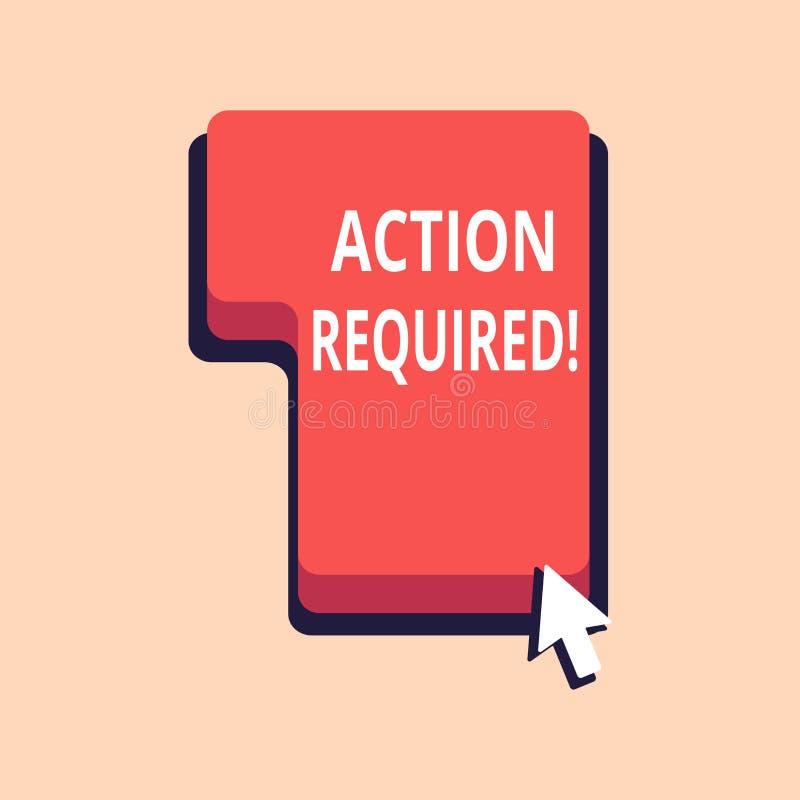 Note d'écriture montrant l'action requise La photo d'affaires présentant l'acte important a eu besoin de tâche importante rapide  illustration libre de droits