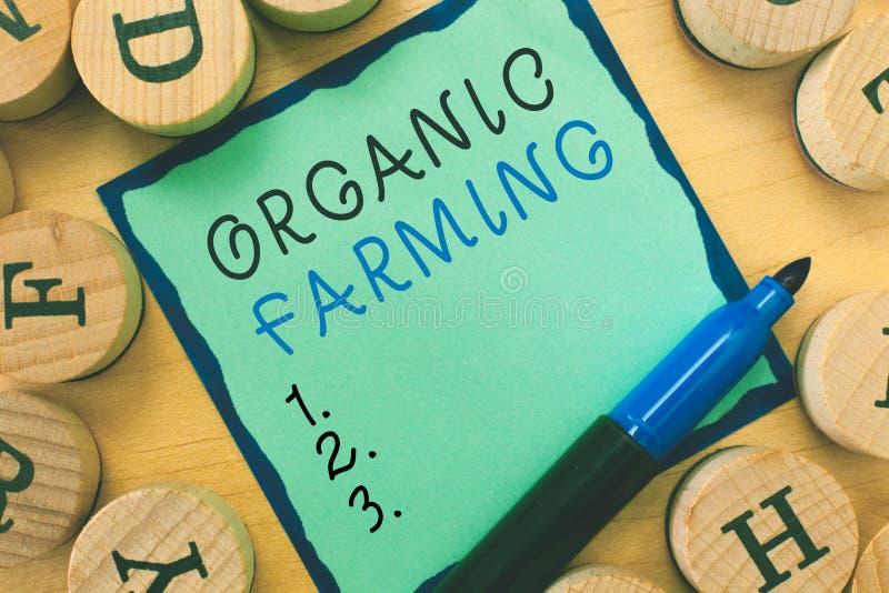 Note d'écriture montrant l'agriculture biologique Photo d'affaires présentant un système d'exploitation agricole intégré qui tâch photographie stock