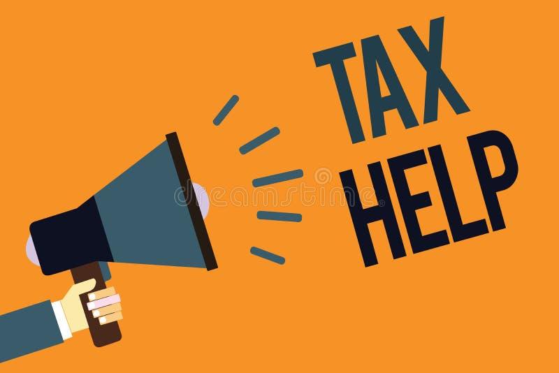 Note d'écriture montrant l'aide d'impôts Aide de présentation de photo d'affaires de la contribution obligatoire au revenu Megaph illustration de vecteur