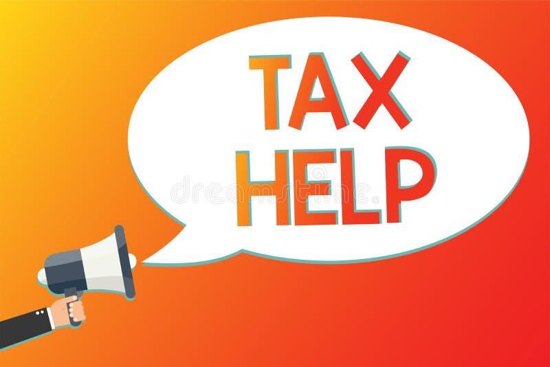 Note d'écriture montrant l'aide d'impôts Aide de présentation de photo d'affaires de la contribution obligatoire au revenu Megaph illustration libre de droits