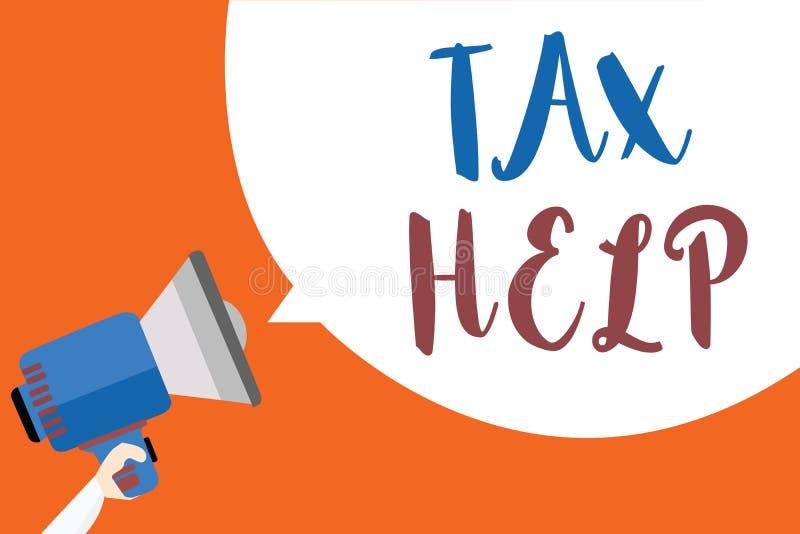 Note d'écriture montrant l'aide d'impôts Aide de présentation de photo d'affaires de la contribution obligatoire au revenu Megaph illustration stock