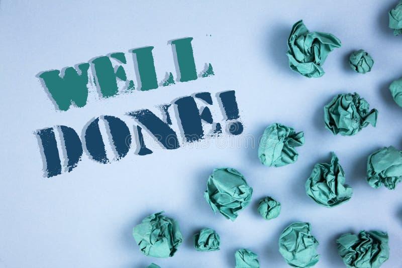 Note d'écriture montrant l'appel de motivation bien fait Photos d'affaires présentant bon Job Great Results Positive Evaluation image stock