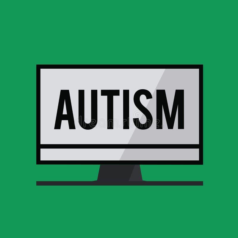 Note d'écriture montrant l'autisme Difficulté de présentation de photo d'affaires l'interaction et en formant des affaires avec l illustration de vecteur