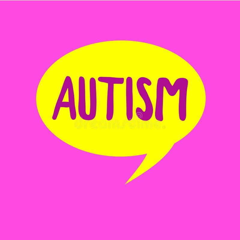 Note d'écriture montrant l'autisme Difficulté de présentation de photo d'affaires l'interaction et en formant des affaires avec l illustration libre de droits