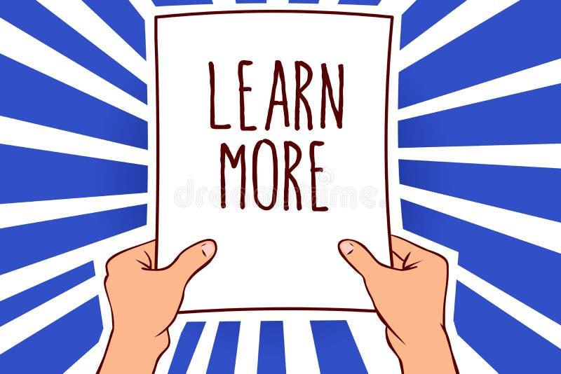 Note d'écriture montrant l'en savoir plus La présentation de photo d'affaires approfondissent la connaissance de la chose que vou illustration de vecteur