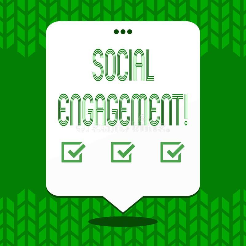 Note d'écriture montrant l'engagement social Le courrier de présentation de photo d'affaires obtient de hautes annonces SEO Adver illustration stock