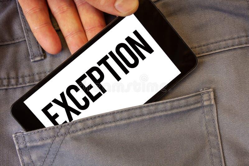 Note d'écriture montrant l'exception Personne de présentation ou chose de photo d'affaires qui sont exclues des heures-homme diff photos libres de droits