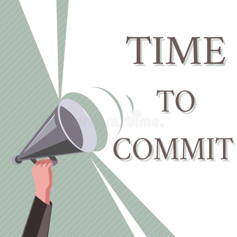 Note d'écriture montrant l'heure de commettre Engagement ou obligation de présentation de photo d'affaires qui limitent la libert illustration de vecteur