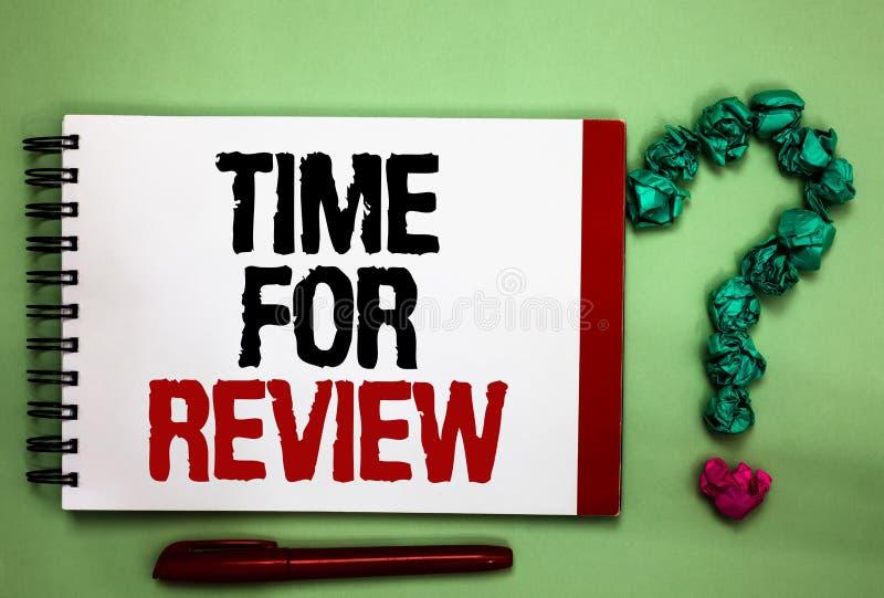 Note d'écriture montrant l'heure pour l'examen Couleur de présentation b de Rate Assess Celadon de représentation de moment de ré image libre de droits