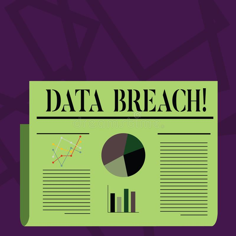 Note d'écriture montrant l'infraction de données Incident de présentation de sécurité de photo d'affaires dans lequel les données illustration libre de droits