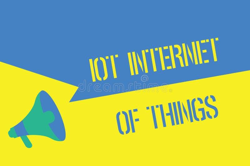 Note d'écriture montrant l'Internet d'Iot des choses Le réseau de présentation de photo d'affaires des dispositifs physiques envo illustration de vecteur