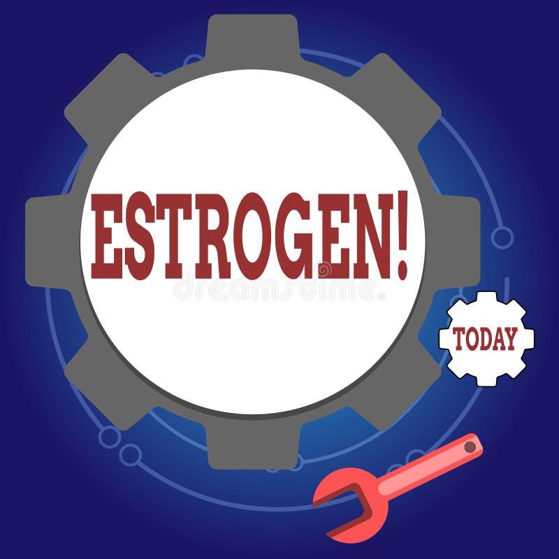 Note d'écriture montrant l'oestrogène Le groupe de présentation de photo d'affaires d'hormones favorisent le développement des ca illustration stock