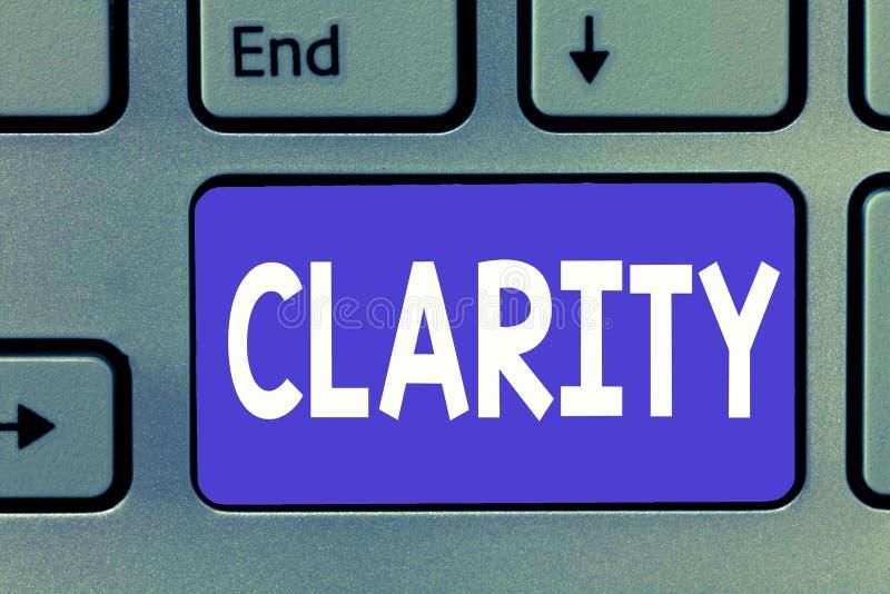 Note d'écriture montrant la clarté Photo d'affaires présentant étant précision claire compréhensible intelligible logique d'idées images stock