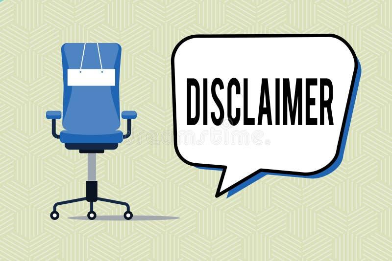 Note d'écriture montrant la clause de non-responsabilité Déclaration de présentation de termes et conditions de photo d'affaires  illustration de vecteur