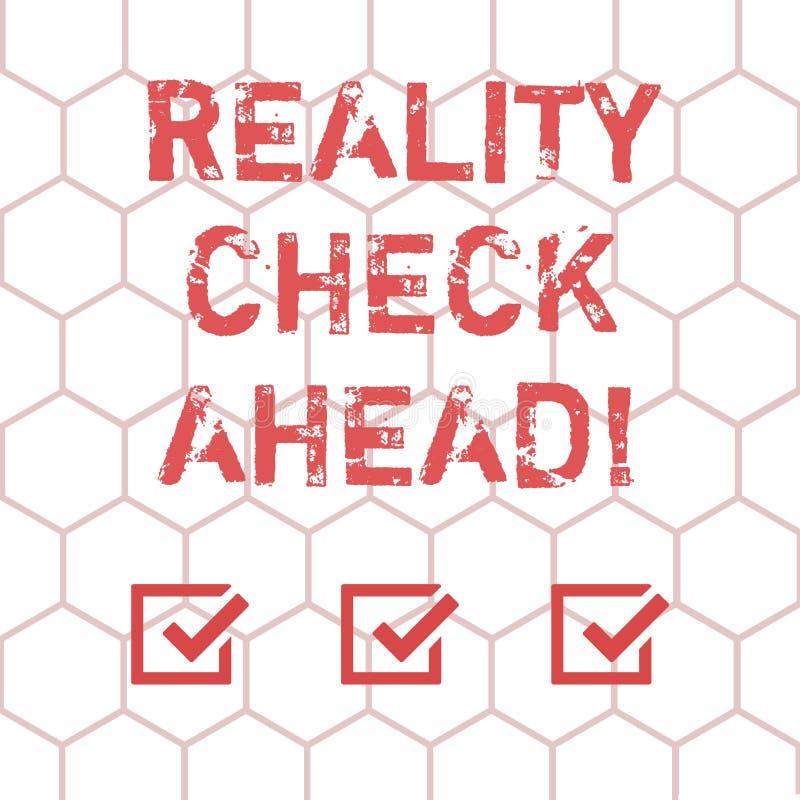 Note d'écriture montrant la confrontation avec la réalité en avant La présentation de photo d'affaires les fait identifier la vér illustration de vecteur