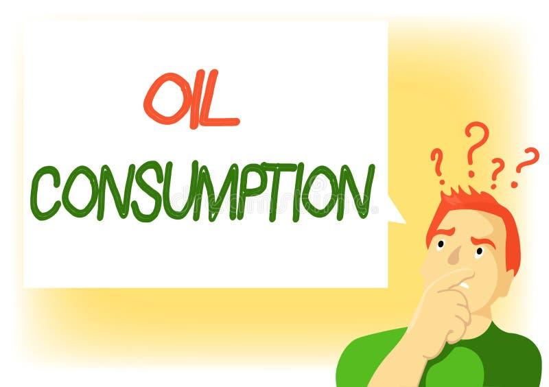 Note d'écriture montrant la consommation pétrolière La photo d'affaires présentant cette entrée est toute l'huile consommée dans  illustration libre de droits