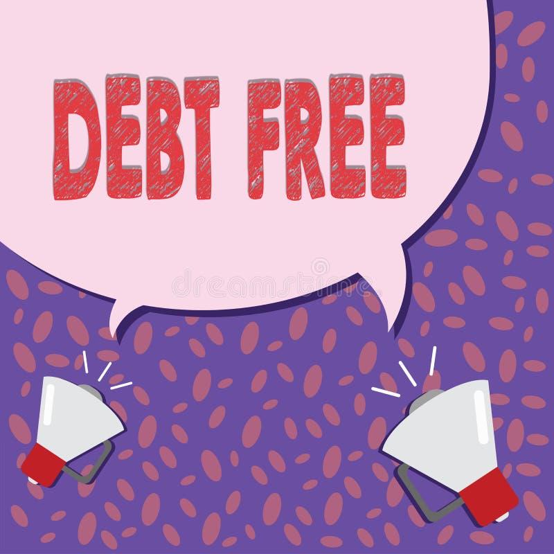 Note d'écriture montrant la DETTE GRATUITE Photo d'affaires présentant la liberté financière ne devant pas à tout argent des affa illustration libre de droits