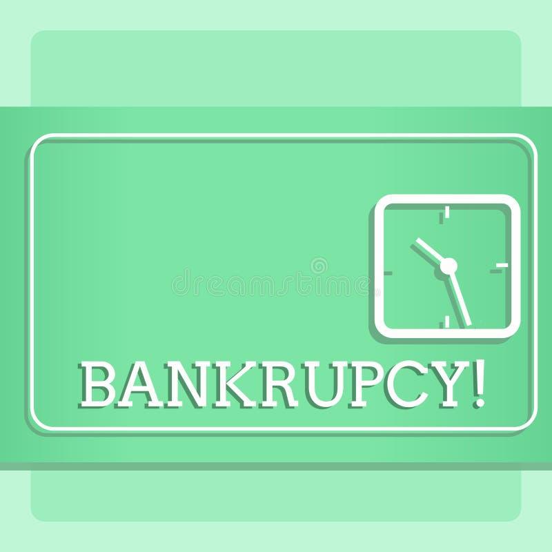 Note d'écriture montrant la faillite La compagnie de présentation de photo d'affaires sous la crise financière fait faillite avec illustration stock