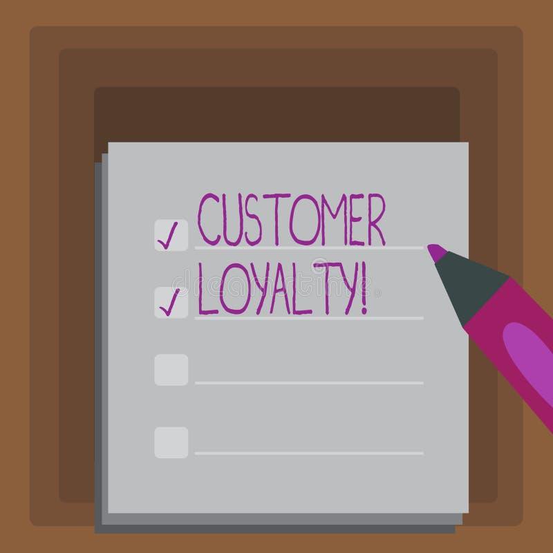 Note d'écriture montrant la fidélité de client Confiance à long terme de présentation de relation de satisfaction de client de ph illustration libre de droits