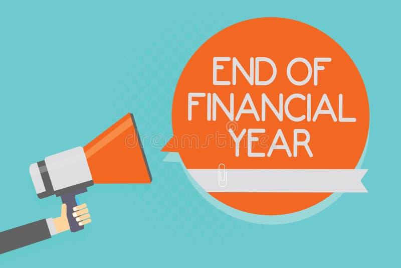 Note d'écriture montrant la fin de l'exercice budgétaire L'épreuve de révision de présentation de photo d'affaires et éditent des illustration stock