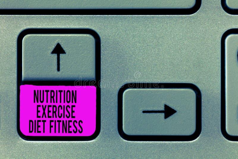 Note d'écriture montrant la forme physique de régime d'exercice de nutrition Photo d'affaires présentant la perte de poids saine  image libre de droits