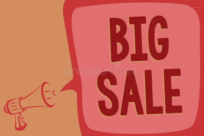 Note d'écriture montrant la grande vente Photo d'affaires présentant mettant des produits sur le grand mégaphone de Black Friday  images libres de droits