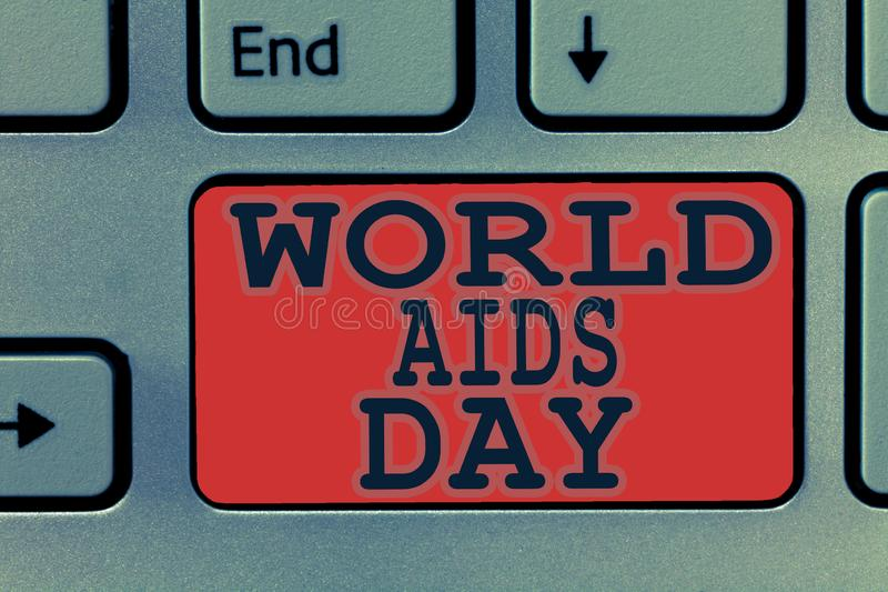 Note d'écriture montrant la Journée mondiale contre le SIDA Les affaires photo le 1er décembre de présentation ont consacré à sou photographie stock libre de droits
