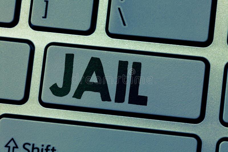 Note d'écriture montrant la prison Endroit de présentation de photo d'affaires pour l'emprisonnement des personnes accusées et co photographie stock libre de droits