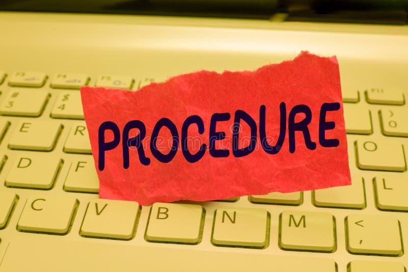 Note d'écriture montrant la procédure La photo d'affaires présentant la manière officielle établie de faire quelque chose ordonne images stock